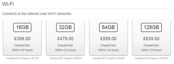 iPad prices in uk